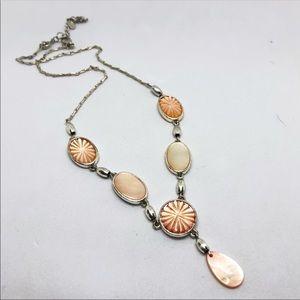 "🆕Vintage Monet Silver & Peach Shell ""Y"" Necklace"
